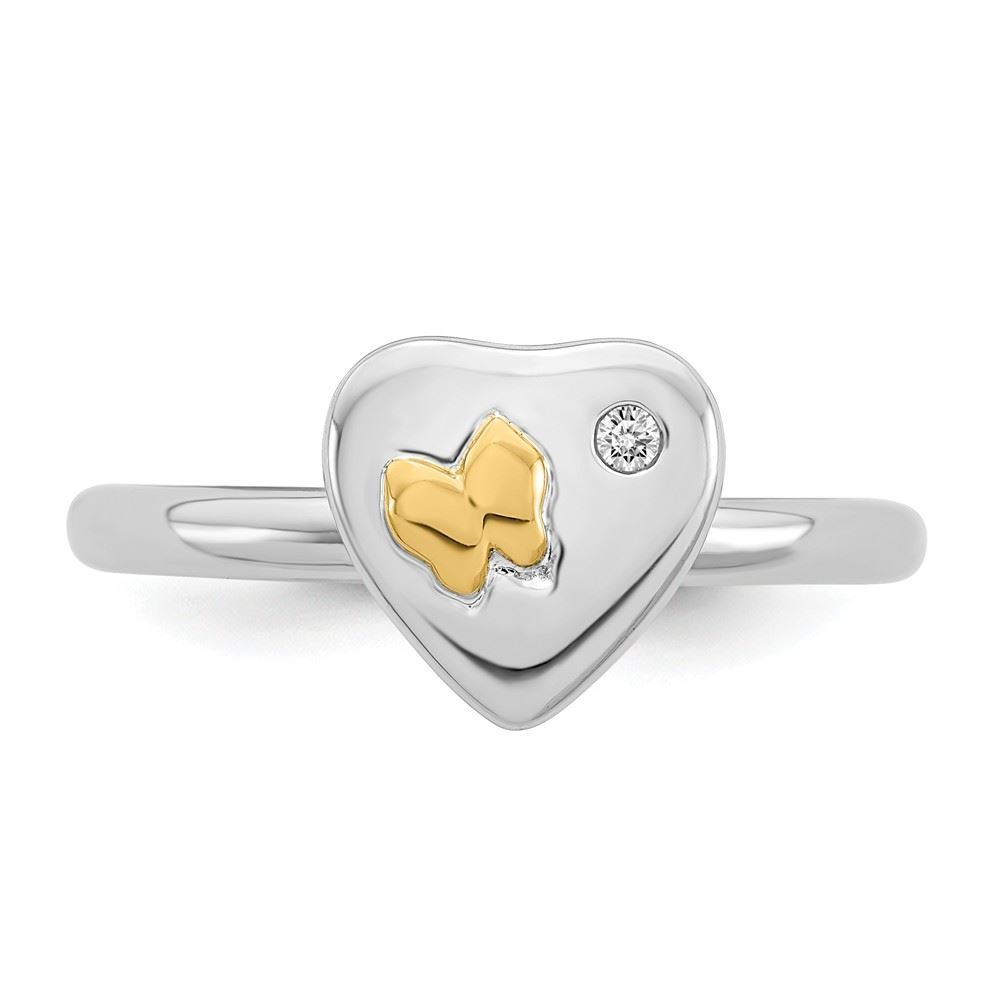 Picture of Diamond 14k Gold Butterfly Sterling Silver Tow-Tone Ring