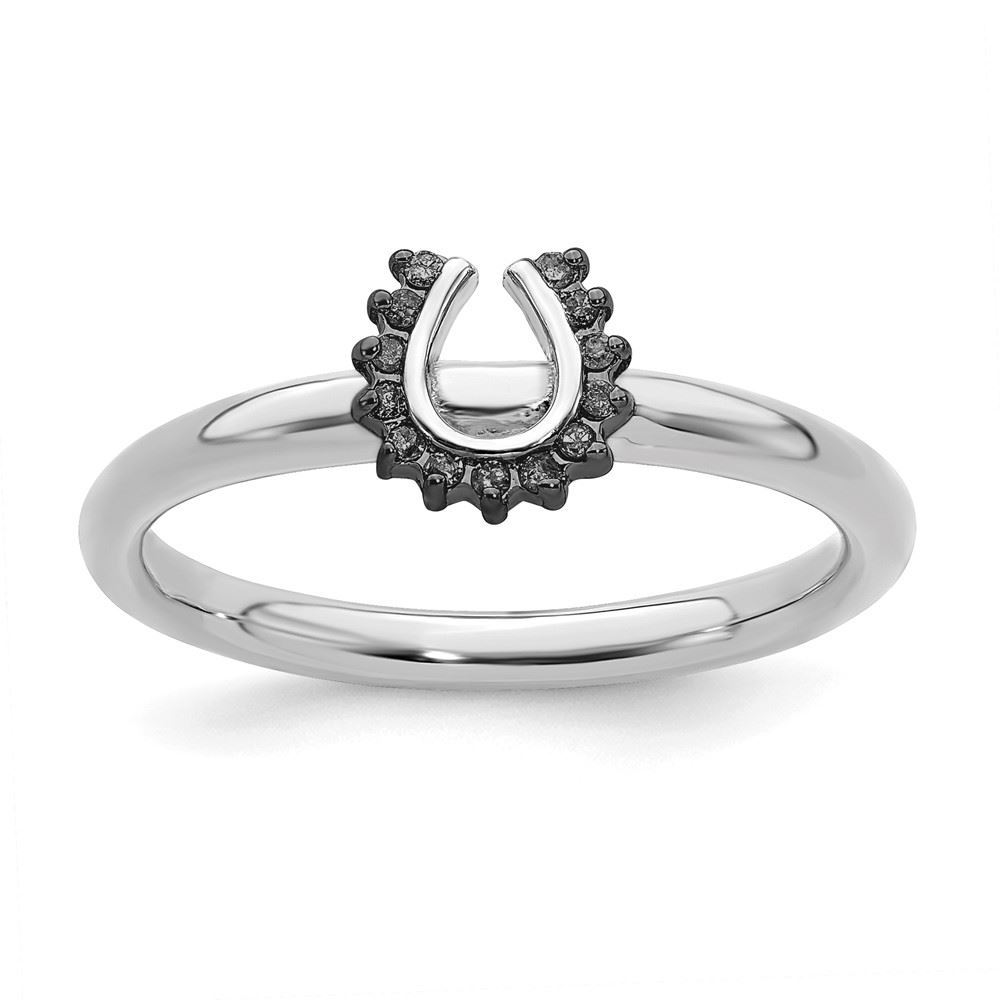 Picture of Black Diamonds Horseshoe Ring Sterling Silver