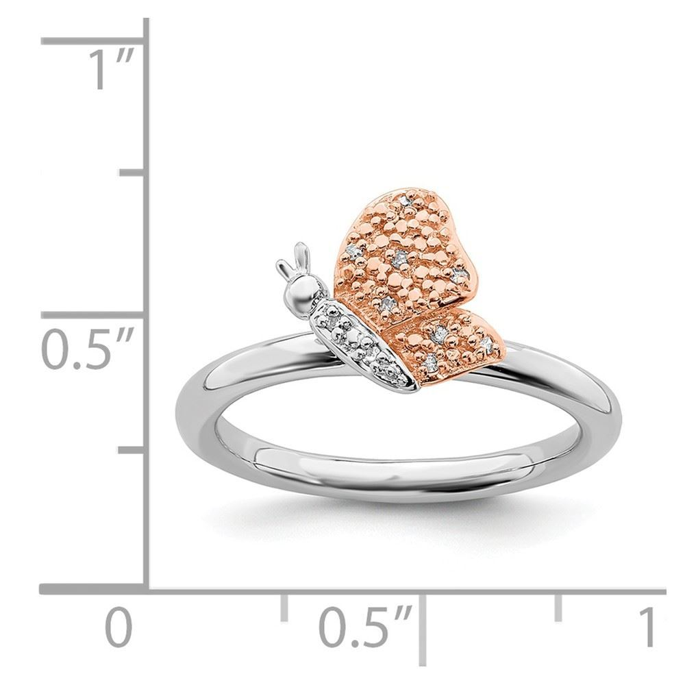Picture of Diamonds Butterfly Ring Sterling Silver Rose Gold-Plated
