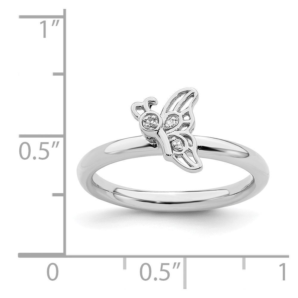 Picture of Diamonds Butterfly Ring Sterling Silver