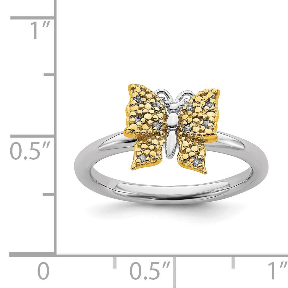 Picture of Diamonds Butterfly Ring Sterling Silver Gold Plated
