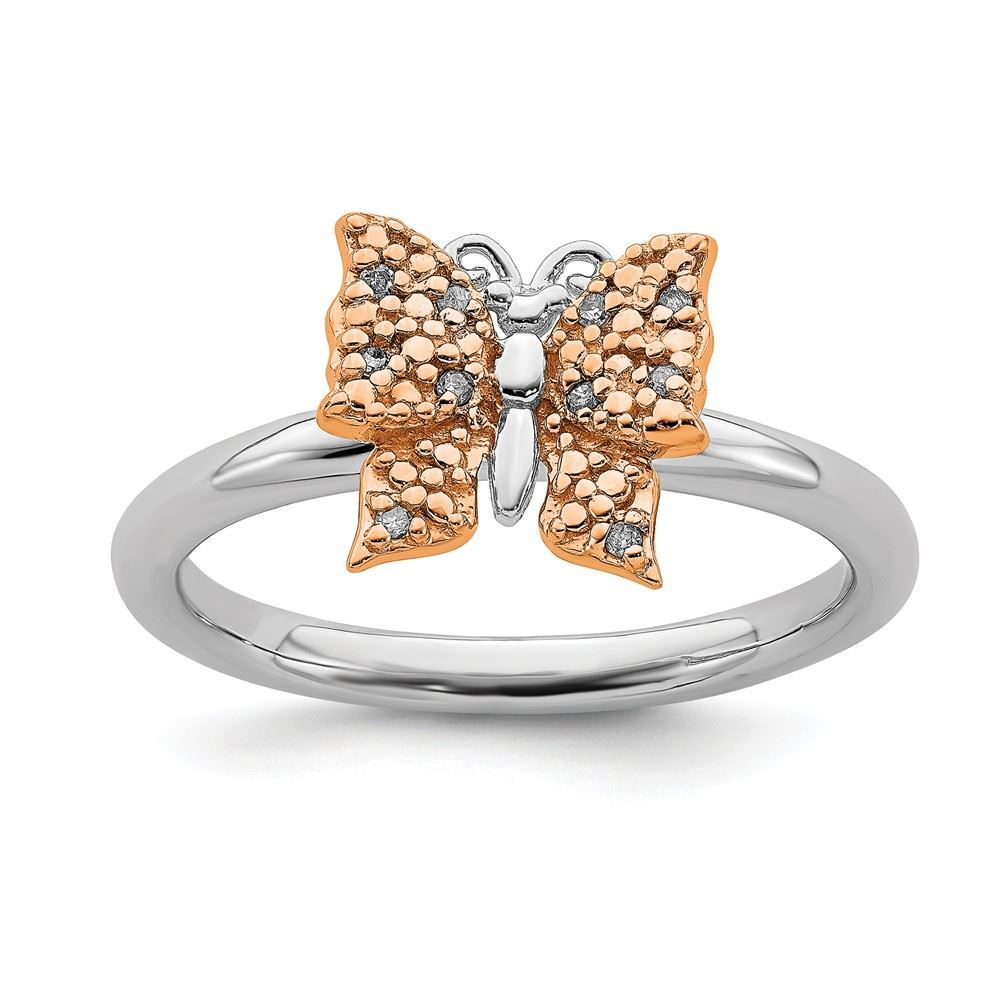 Picture of Diamonds Butterfly Ring Sterling Silver Rose Gold Plated