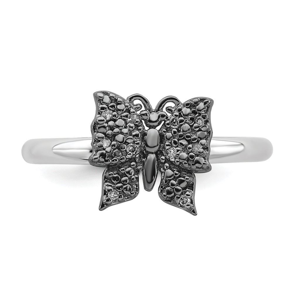 Picture of Diamonds Butterfly Ring Sterling Silver Black Plated