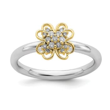 Picture of Diamonds Flower Ring Sterling Silver Gold Plated