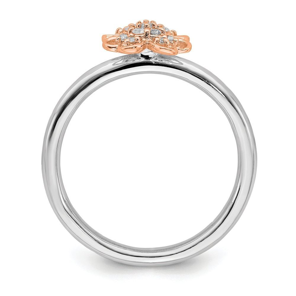 Picture of Diamonds Flower Ring Sterling Silver Rose Gold-Plated
