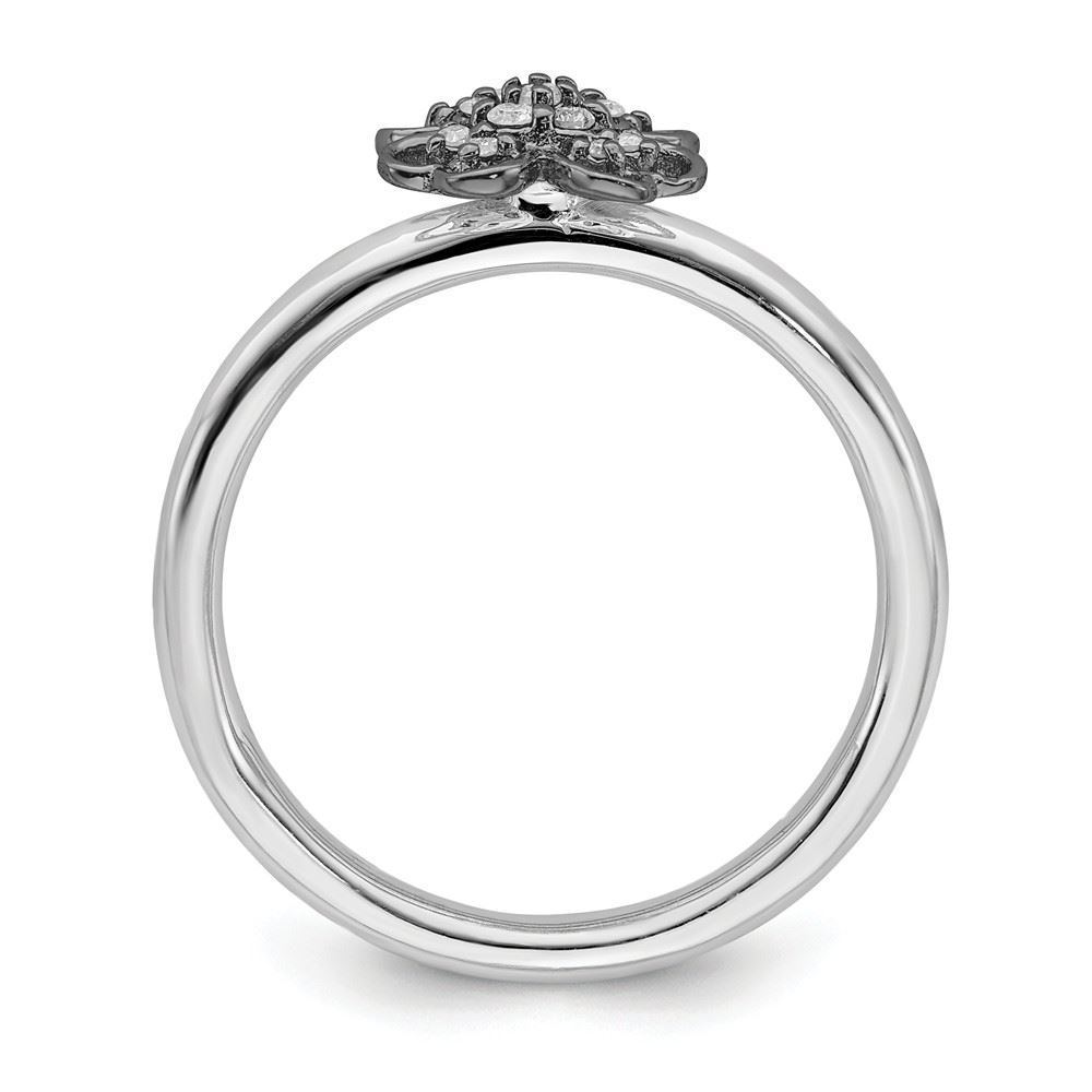 Picture of Diamonds Flower Ring Sterling Silver Black-Plated