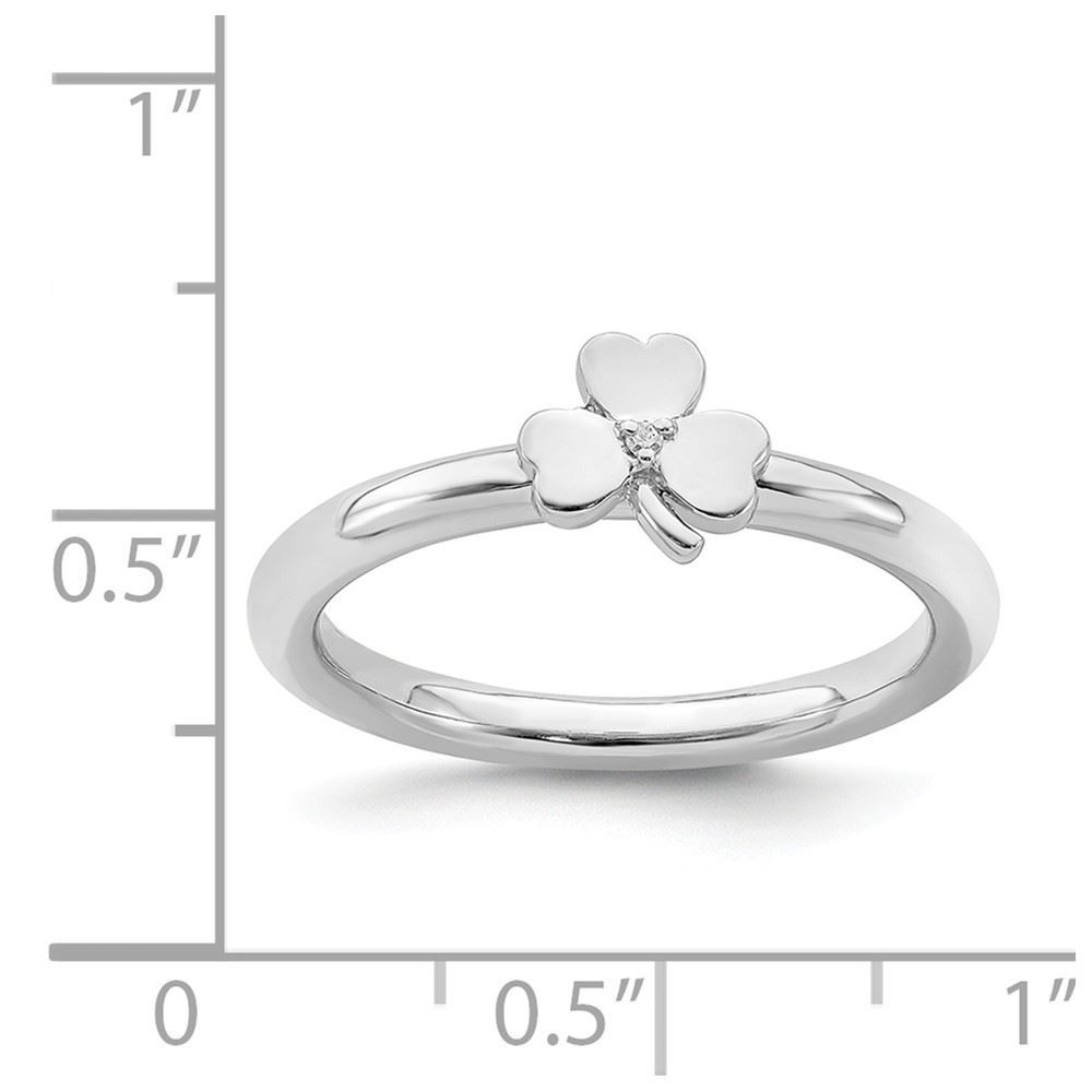 Picture of Diamonds Accent Clover Ring Sterling Silver