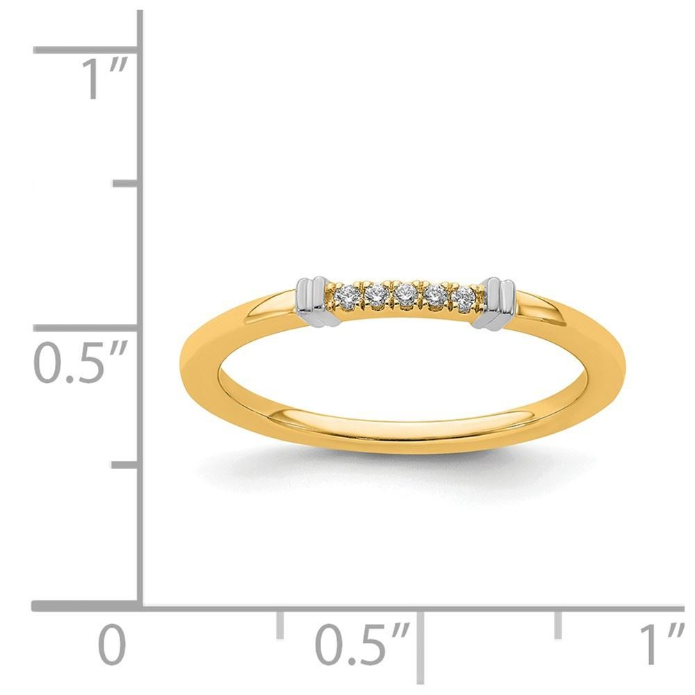 Picture of 14K Two-Tone Solid Gold Diamond Stackable Ring