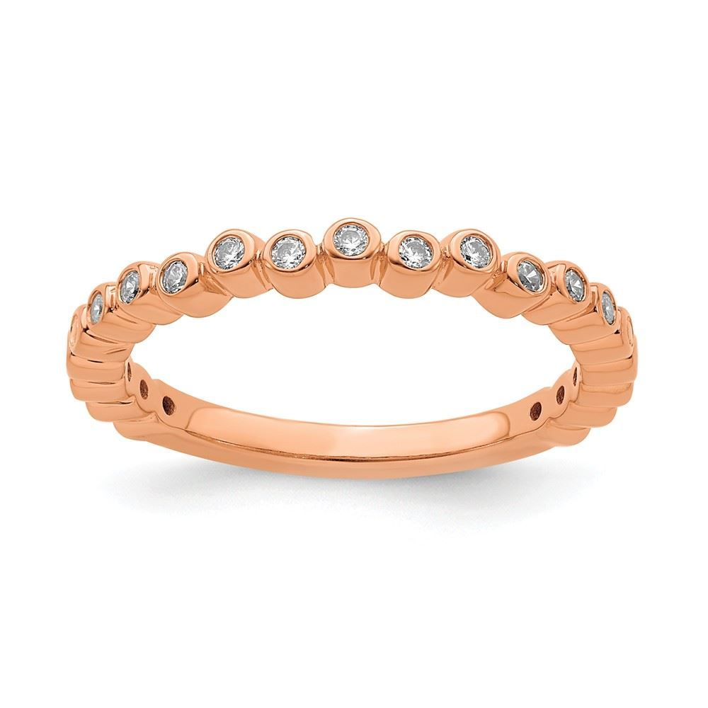 Picture of 14K Rose Solid Gold Diamond Stackable Ring