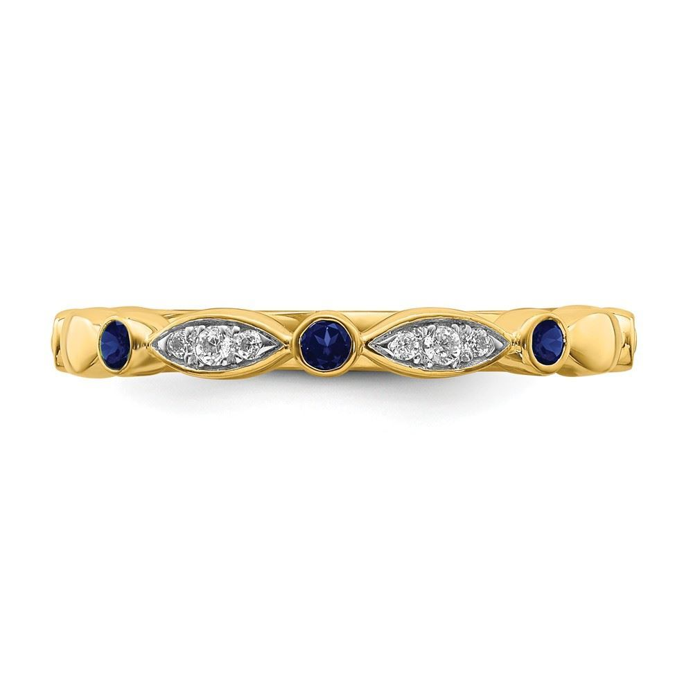Picture of 14K Yellow Solid Gold Created Sapphires and Diamonds Stackable Ring