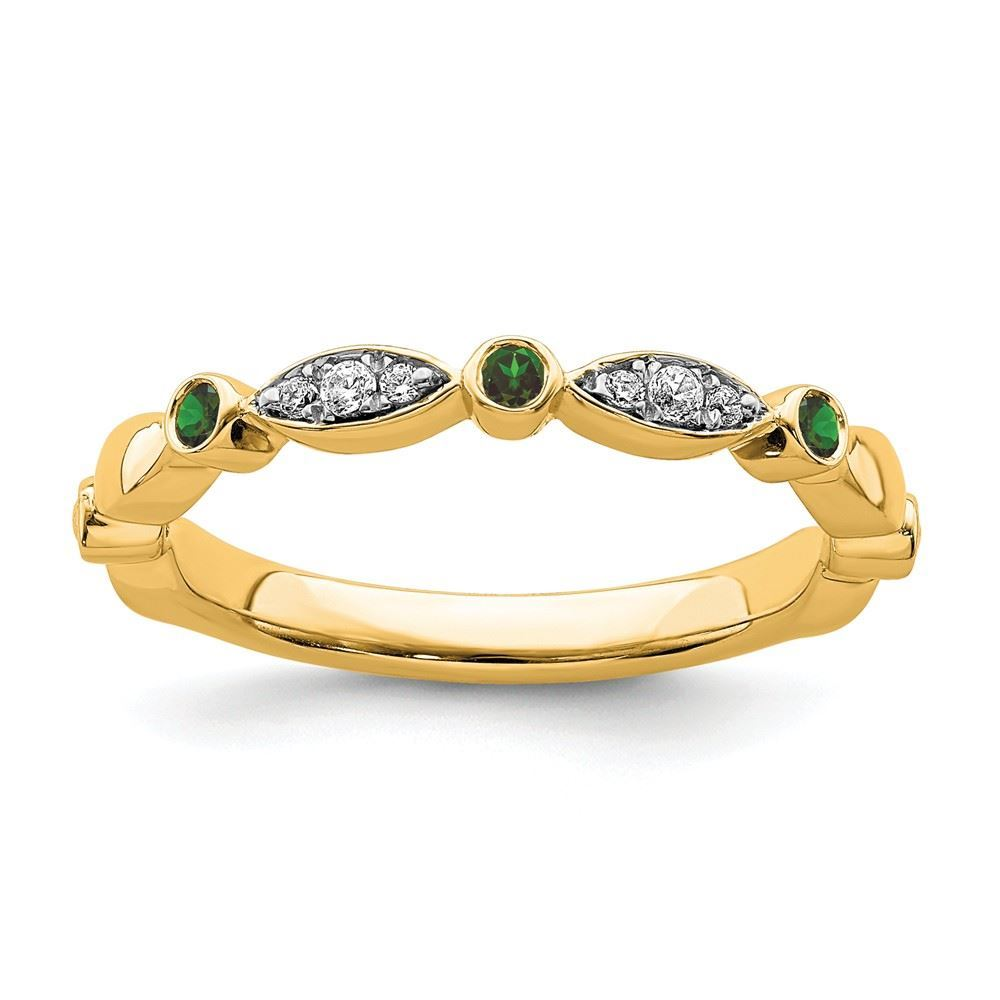 Picture of 14K Yellow Solid Gold Created Emerald and Diamonds Stackable Ring