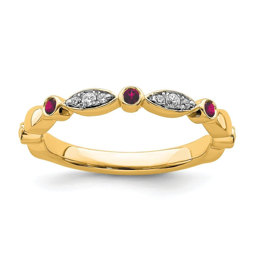 Picture of 14K Yellow Solid Gold Created Ruby and Diamonds Stackable Ring