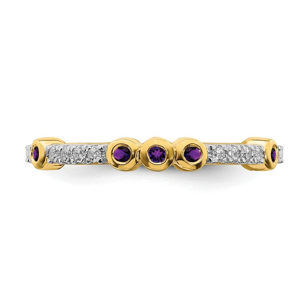 Picture of 14K Yellow Solid Gold Amethyst and Diamond Stackable Ring