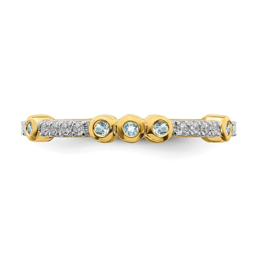 Picture of 14K Yellow Solid Gold Aquamarine and Diamond Stackable Ring