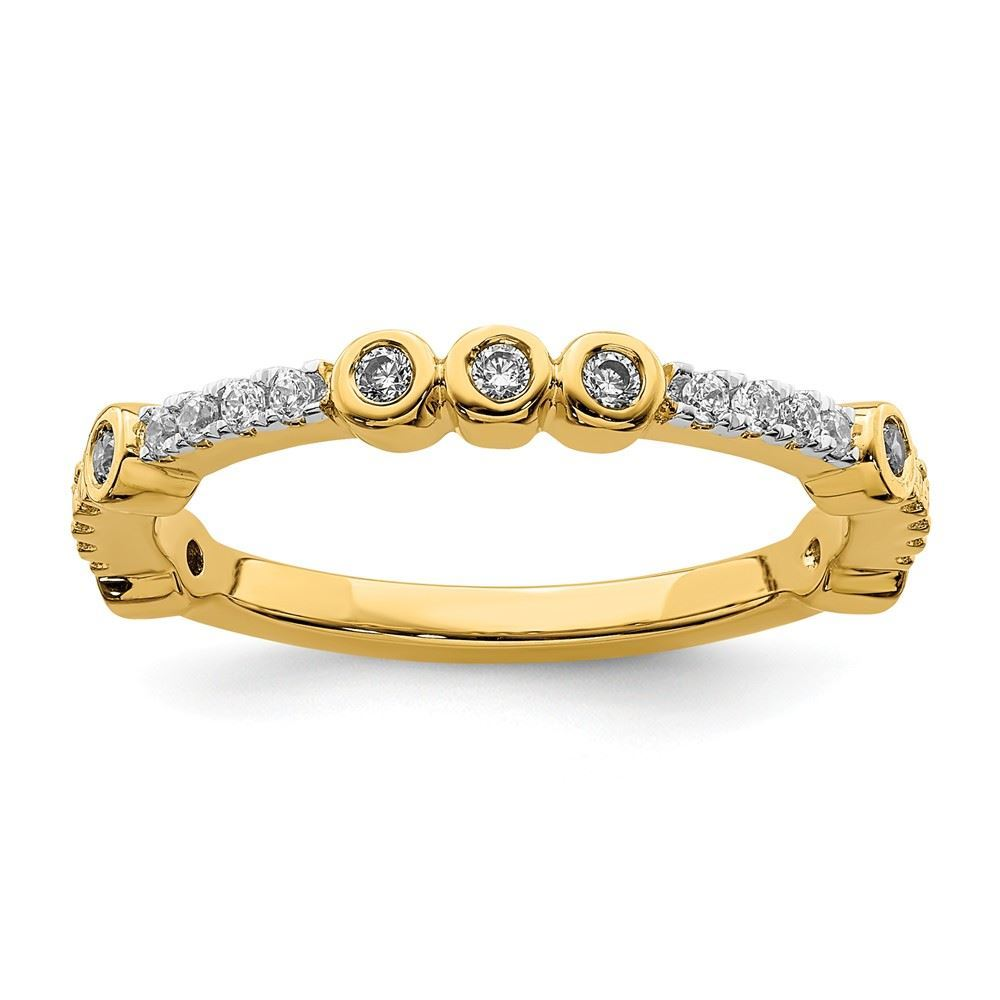 Picture of 14K Yellow Solid Gold White Topaz and Diamond Stackable Ring