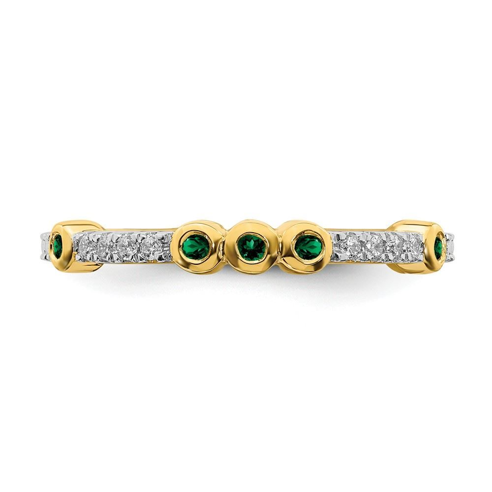 Picture of 14K Yellow Solid Gold Created Emerald and Diamond Stackable Ring