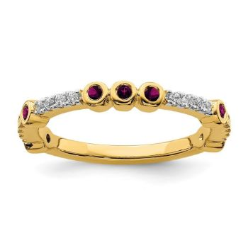 Picture of 14K Yellow Solid Gold Rhodolite Garnet and Diamond Stackable Ring