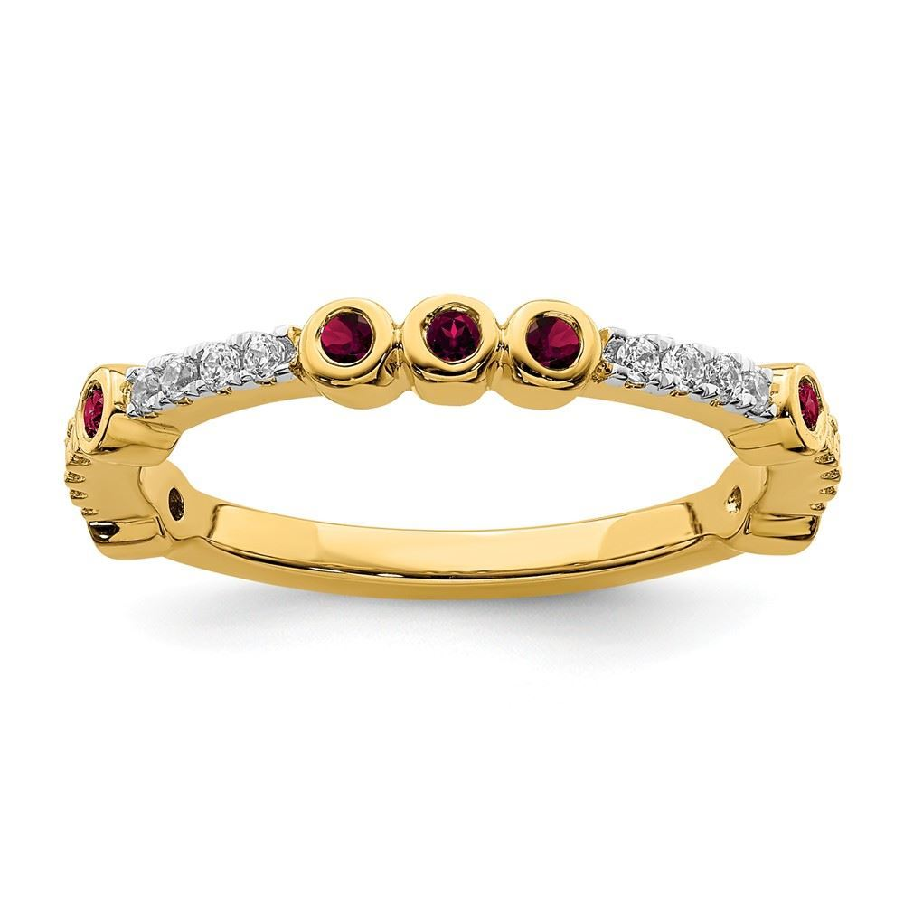 Picture of 14K Yellow Solid Gold Created Ruby and Diamond Stackable Ring