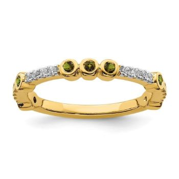 Picture of 14K Yellow Solid Gold Peridot and Diamond Stackable Ring