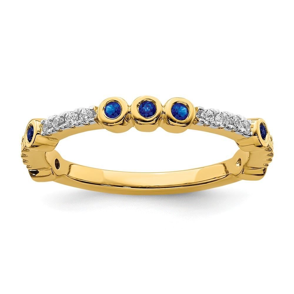 Picture of 14K Yellow Solid Gold Created Sapphire and Diamond Stackable Ring