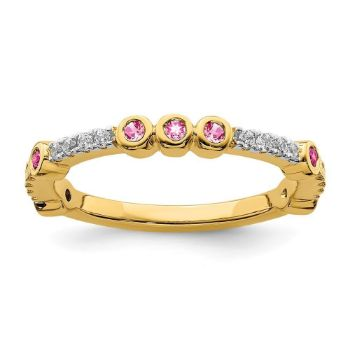 Picture of 14K Yellow Solid Gold Pink Tourmaline and Diamond Stackable Ring