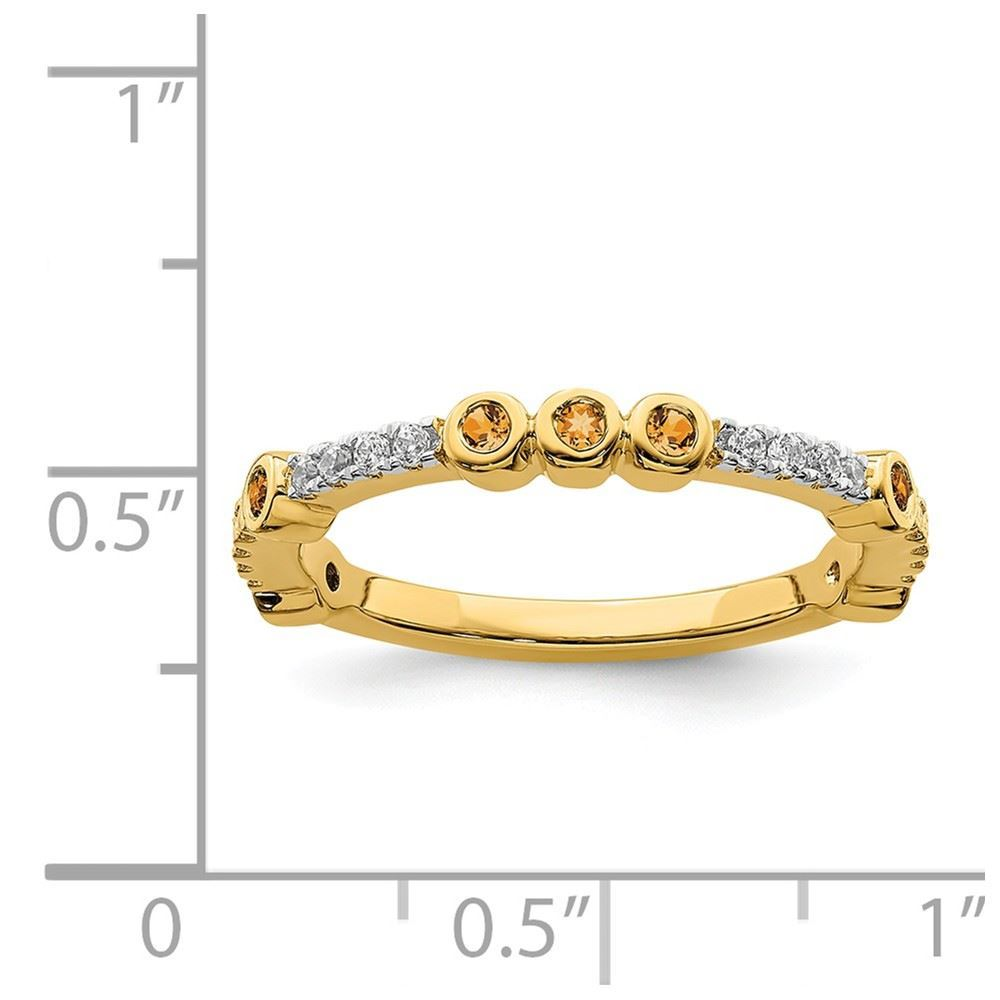 Picture of 14K Yellow Solid Gold Citrine and Diamond Stackable Ring