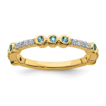 Picture of 14K Yellow Solid Gold Blue Topaz and Diamond Stackable Ring