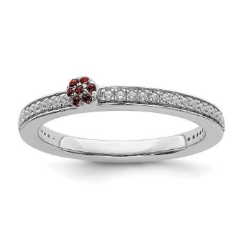 Picture of 14K White Solid Gold Garnet and Diamond Stackable Ring