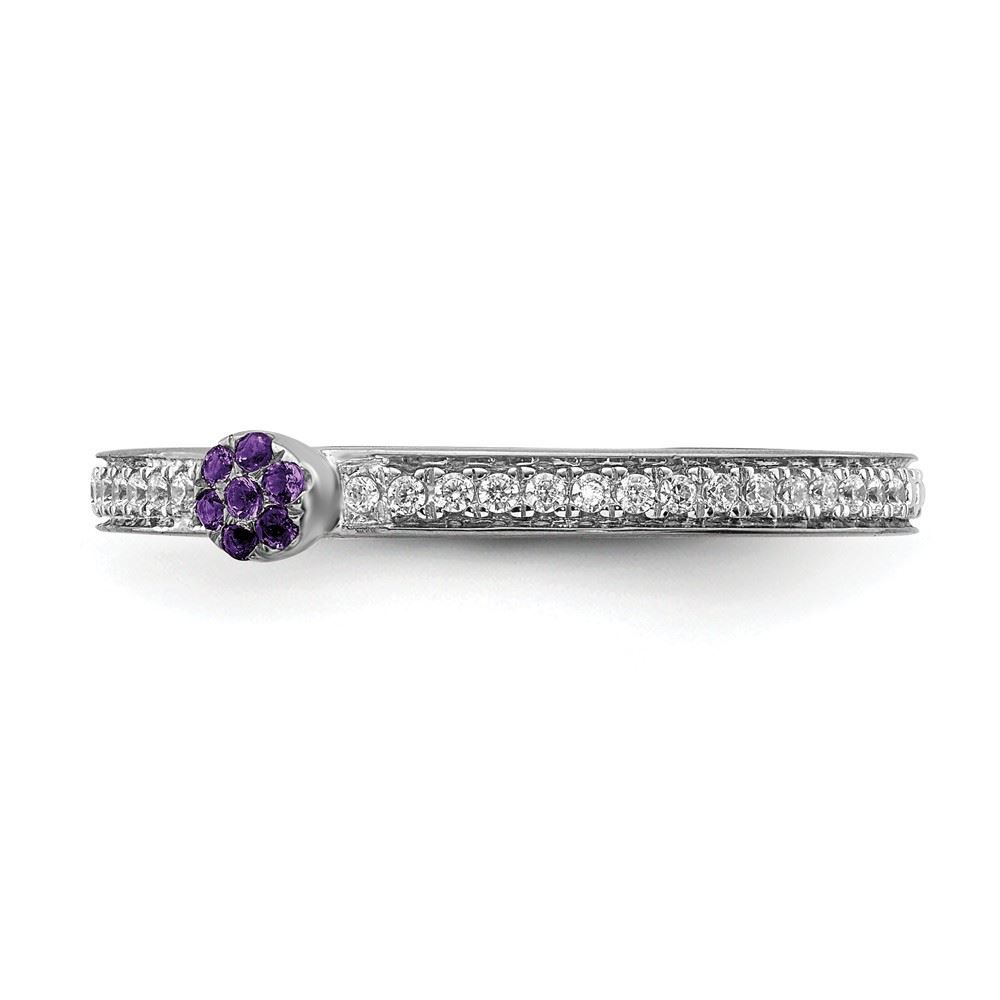 Picture of 14K White Solid Gold Amethyst and Diamond Stackable Ring