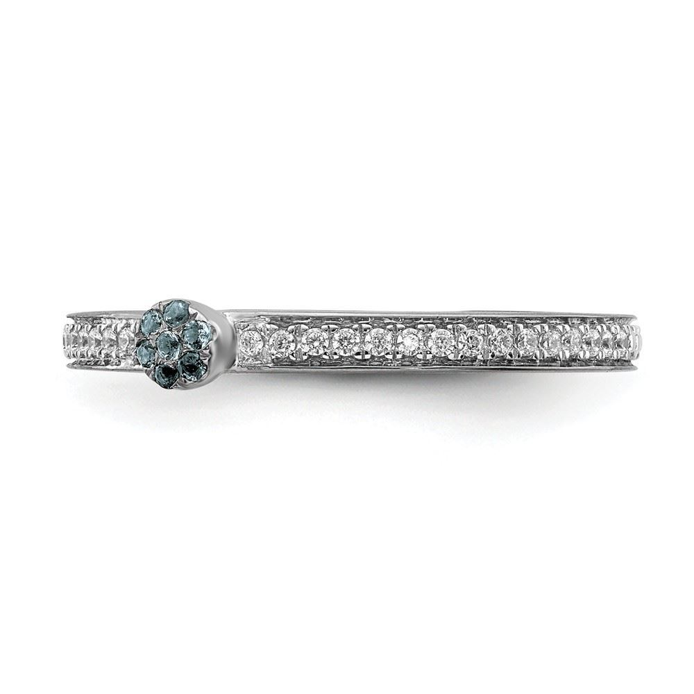 Picture of 14K White Solid Gold Aquamarine and Diamond Stackable Ring