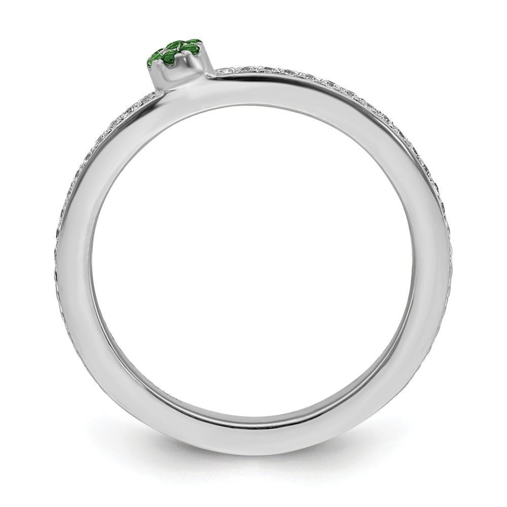 Picture of 14K White Solid Gold Created  Emerald and Diamond Stackable Ring