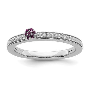 Picture of 14K White Solid Gold Rhodolite Garnet and Diamond Stackable Ring