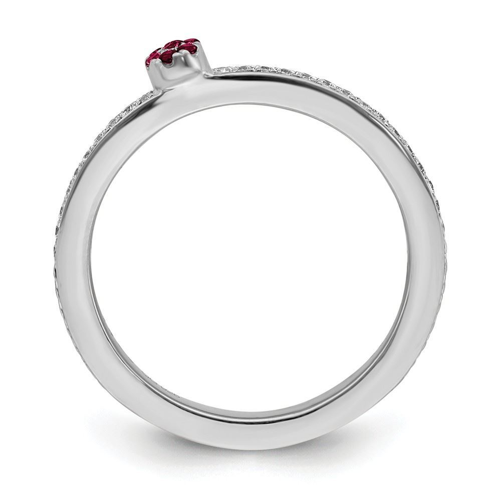 Picture of 14K White Solid Gold Created Ruby and Diamond Stackable Ring