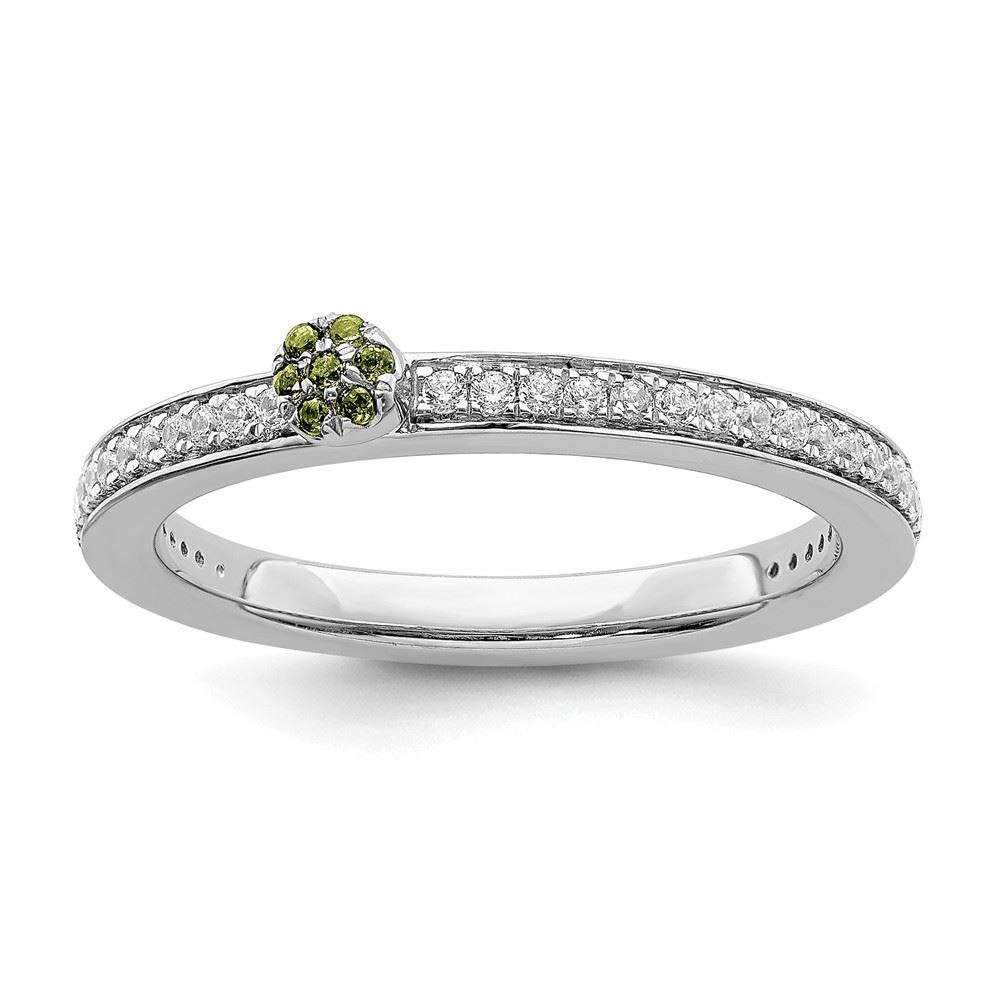 Picture of 14K White Solid Gold Peridot and Diamond Stackable Ring