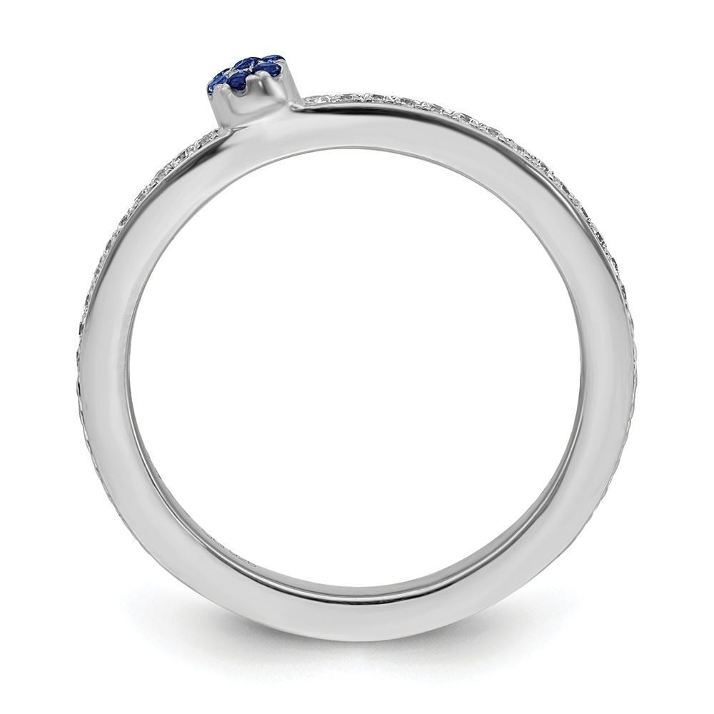 Picture of 14K White Solid Gold Created Sapphire and Diamond Stackable Ring