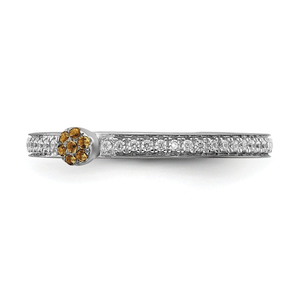 Picture of 14K White Solid Gold Citrine and Diamond Stackable Ring