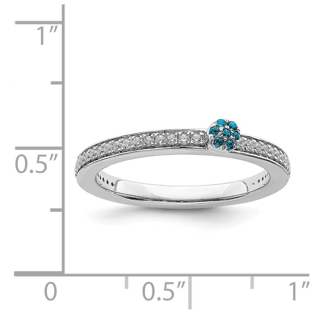 Picture of 14K White Solid Gold Blue Topaz and Diamond Stackable Ring