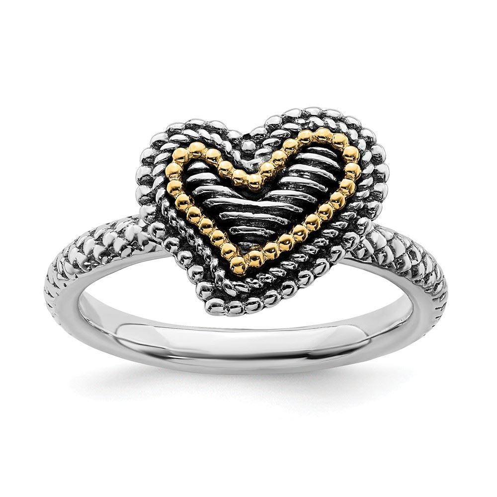 Picture of Sterling Silver & 14k Heart Antiqued Ring