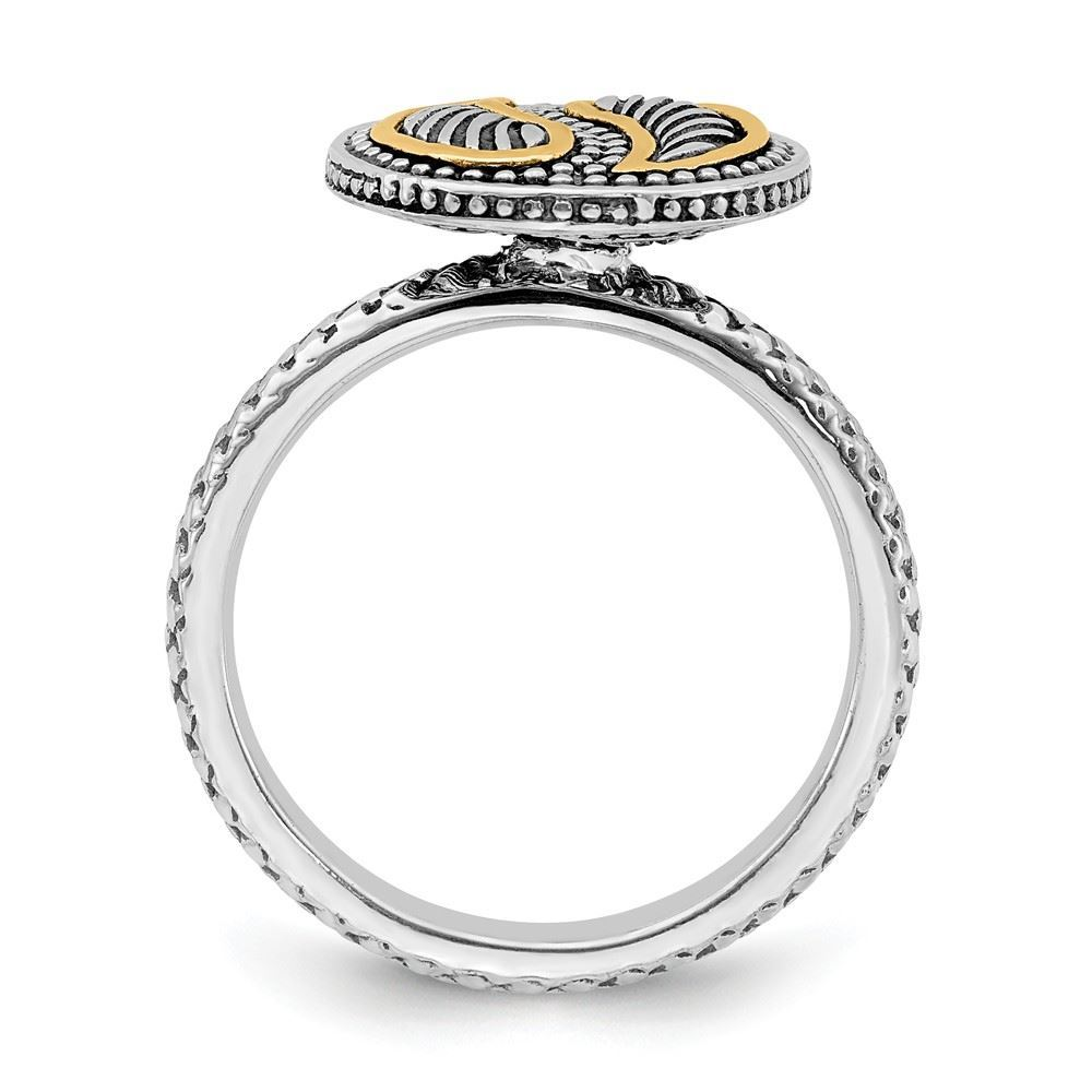 Picture of Sterling Silver & 14k Stackable Expressions Antiqued Ring