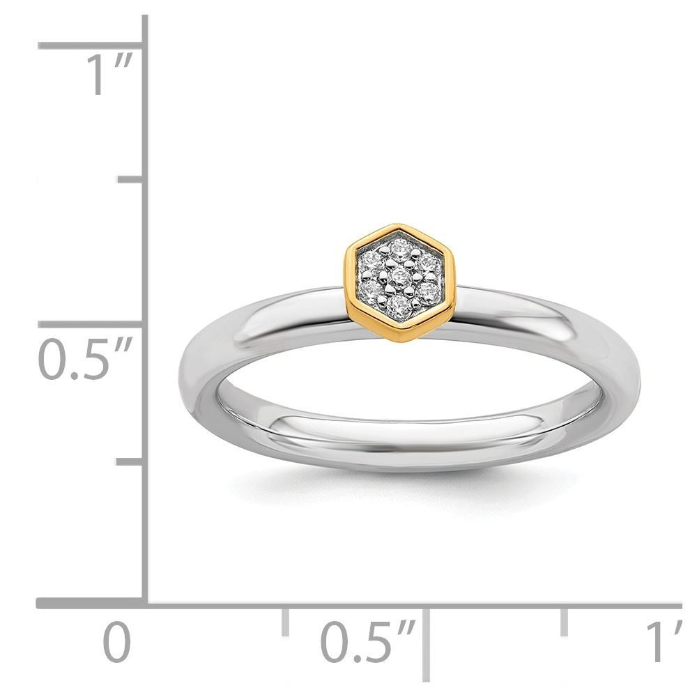 Picture of Hexagon Diamond Gold-Plated Ring Sterling Silver