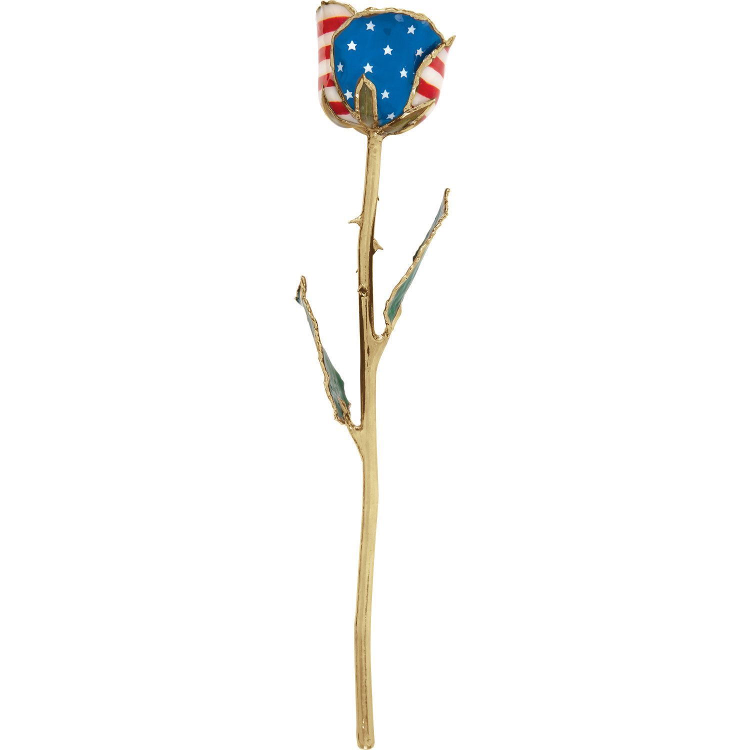 Picture of Lacquered Patriotic Rose with Gold Trim