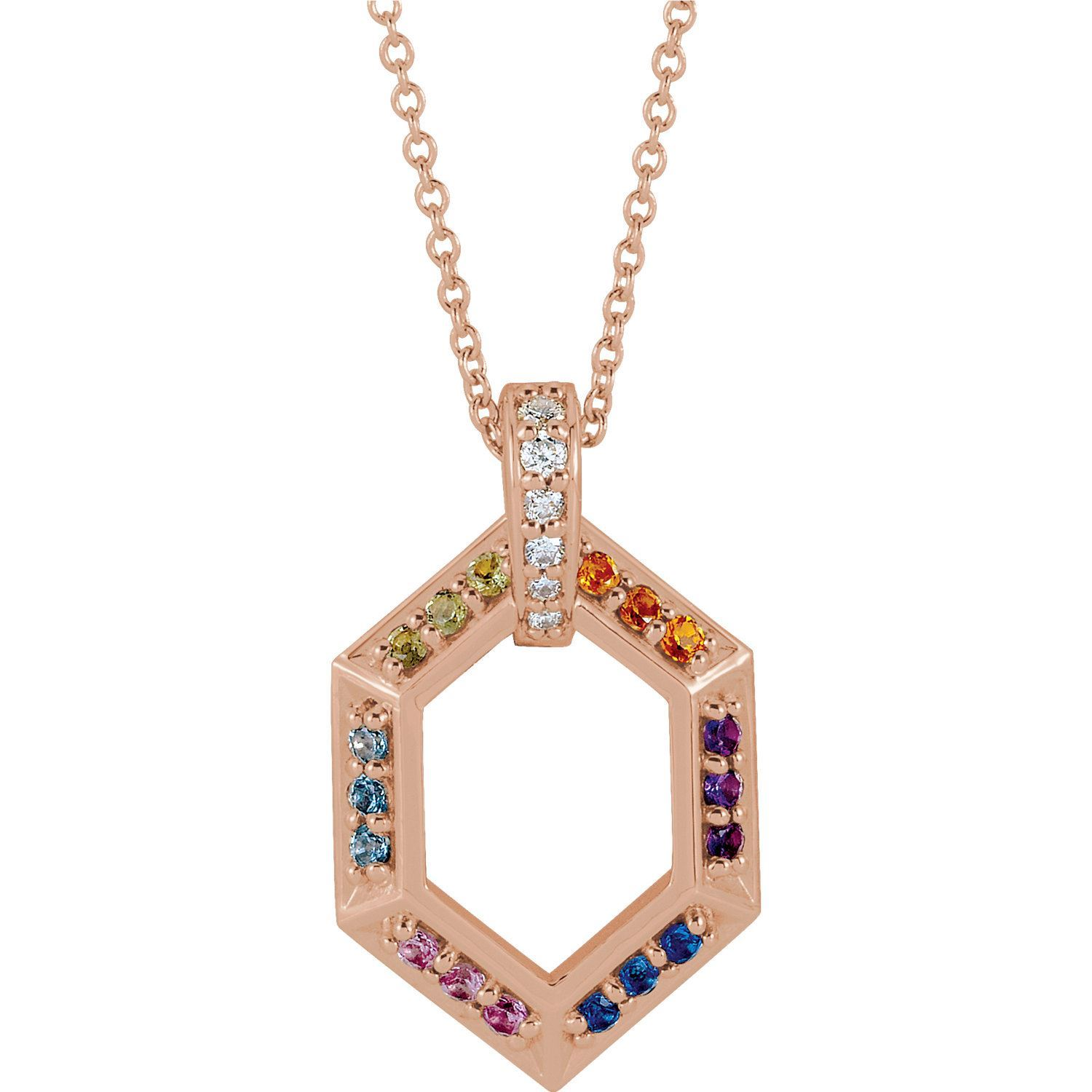 Picture of 14K Gold Family Geometric Pendant 1 to 6 Stones