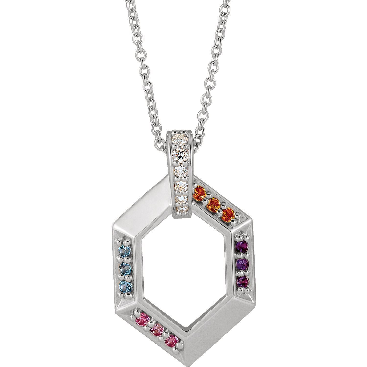 Picture of Family Geometric Pendant 1 to 6 Stones Sterling Silver