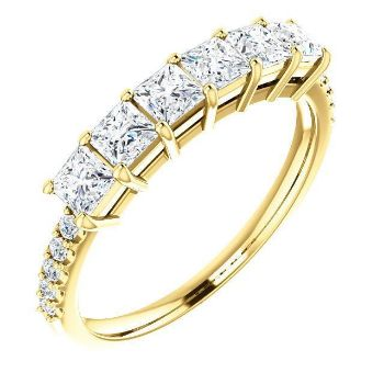 Picture of Gold 1 to 5 Square Stones Mother's Ring Anniversary Band
