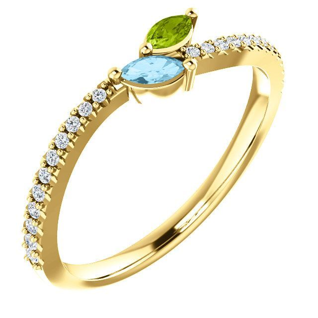 Picture of Gold 1 to 5 Marquise Stones Mother's Ring