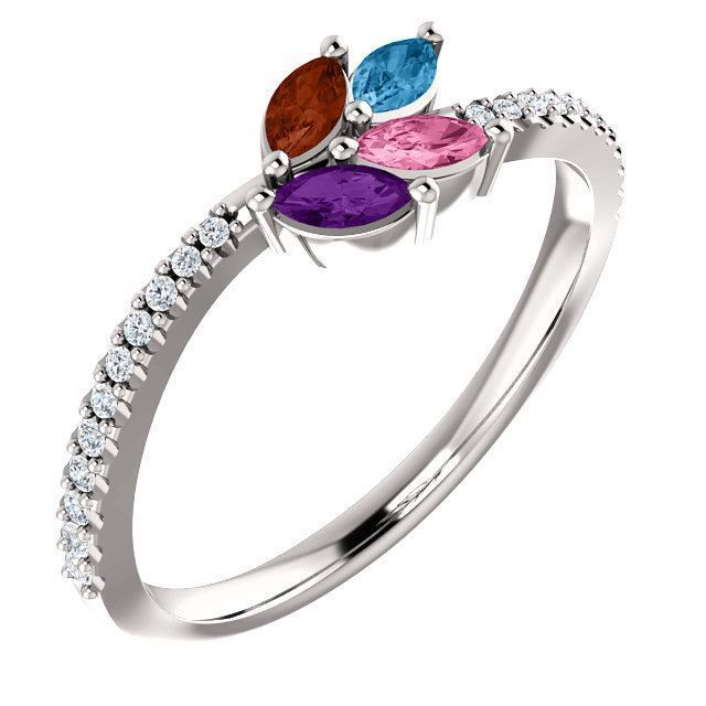 Picture of Silver 1 to 5 Marquise Stones Mother's Ring