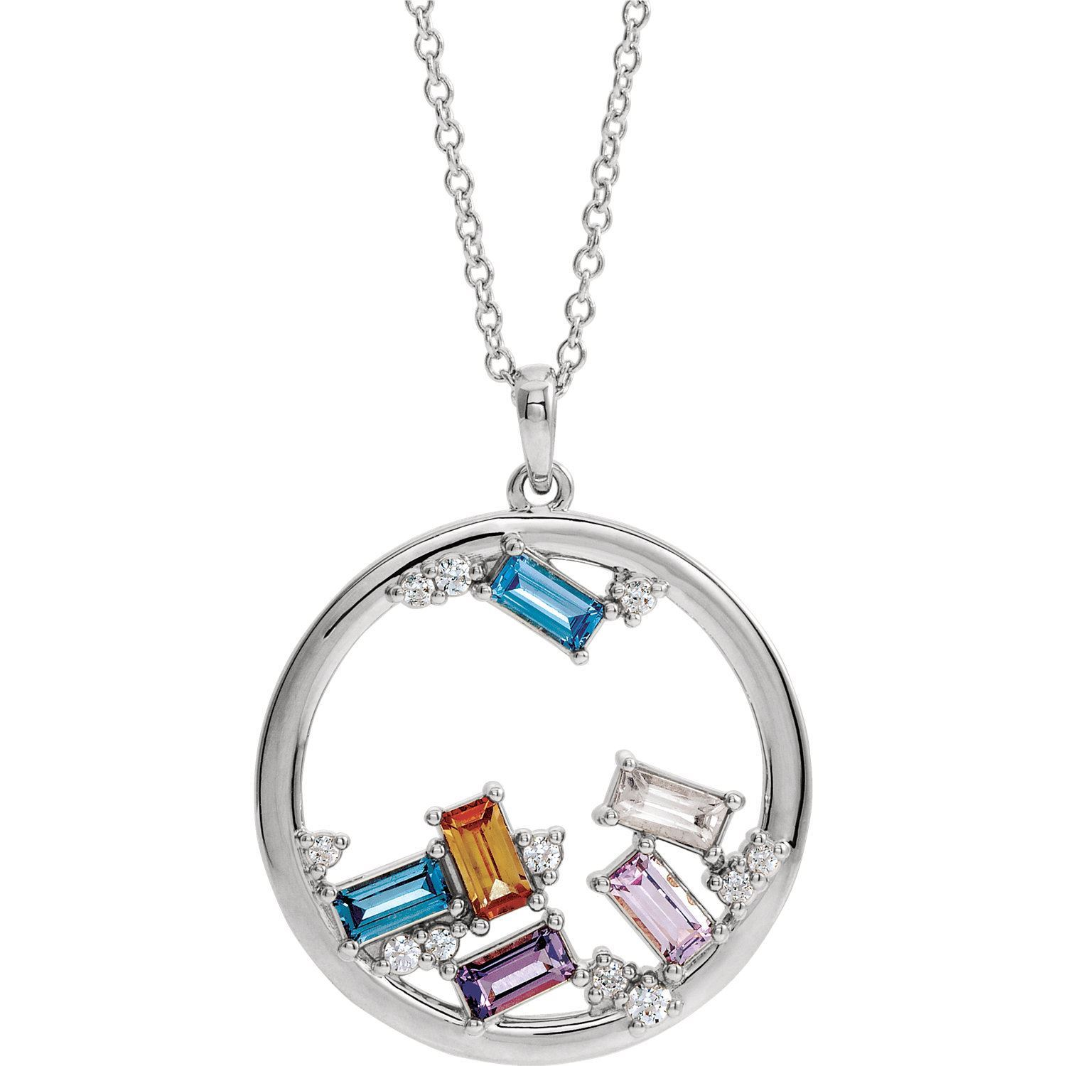 Picture of Silver 1 to 6 Baguette Stones Family Circle Pendant