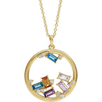Picture of Gold 1 to 6 Baguette Stones Family Circle Pendant