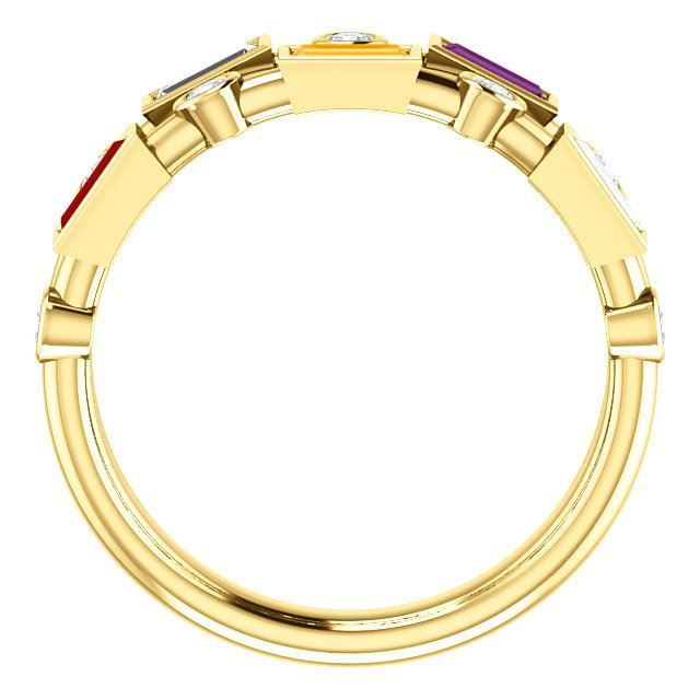 Picture of Gold 1 to 5 Baguette Stones Mother's Ring