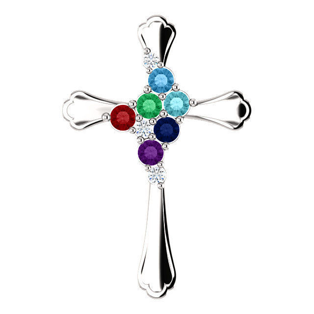 Picture of Cross Silver 1 to 6 Round Stones Mother's Pendant